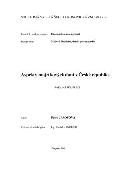 Aspekty majetkových daní v České republice - Index of