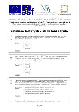 Databáze testových úloh ke SZZ z fyziky