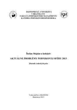 Štefan Majtán a kolektív AKTUÁLNE PROBLÉMY PODNIKOVEJ