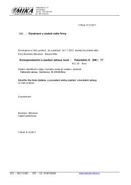 mika dopis nová adresa 2012