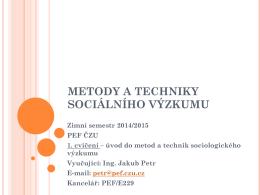 Metody a techniky sociálního výzkumu