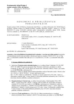 Exekutorský úřad Praha 1 OZNÁMENÍ O PŘIHLÁŠENÝCH