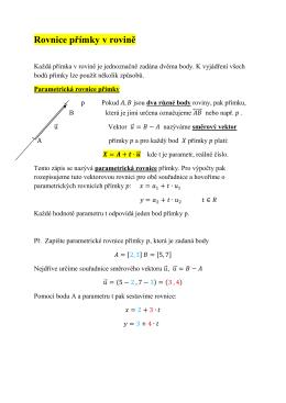 Rovnice přímky v rovině