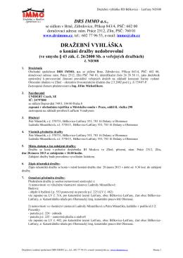 Dražební vyhláška ND308 RD Bělkovice