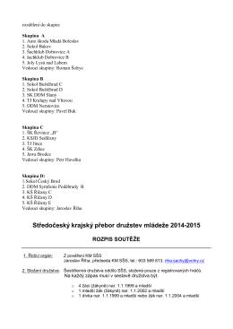 Středočeský krajský přebor družstev mládeže 2014-2015