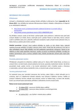 informace pro uchazeče o přijetí ke studiu