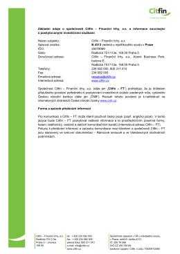 Základní údaje o společnosti Citfin – Finanční trhy, a.s. a informace