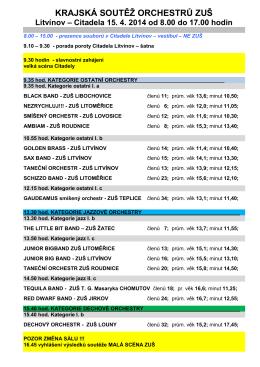 Krajské kolo orchestry 2014 NOVÝ harmonogram