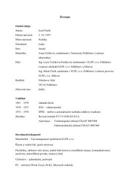 Životopis Osobní údaje Jméno: Josef Fučík Datum narození: 3. 10