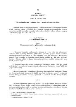 34 ROZKAZ MINISTRA OBRANY ze dne 19. července 2011
