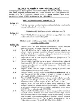 Seznam platných pokynů a rozkazů k 1.10.2012