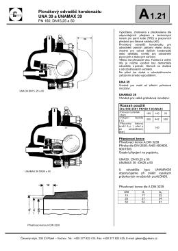 Plovákový odvaděč kondenzátu UNA 39 a UNAMAX 39 - G