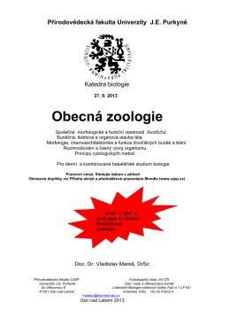 Obecná zoologie - KATEDRA BIOLOGIE