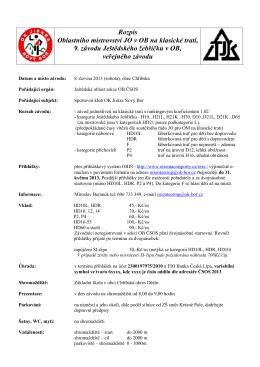 Rozpis Oblastního mistrovství JO v OB na klasické trati, 9. závodu