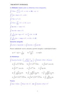 NEURČITÝ INTEGRÁL 1) Základní vzorce (platí na