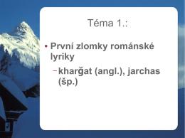 První literární památky v románském jazyce