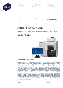 Agilent 5100 ICP-OES Specifikace