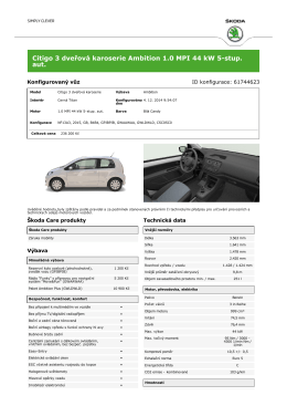 Citigo 3 dveřová karoserie Ambition 1.0 MPI 44 kW 5