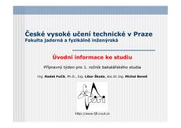 Studium na FJFI ČVUT v Praze