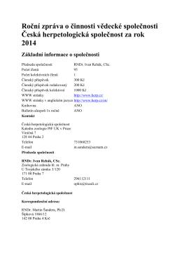 2014 - Česká herpetologická společnost