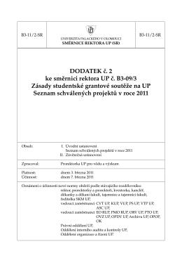 seznam schválených projektů 2011