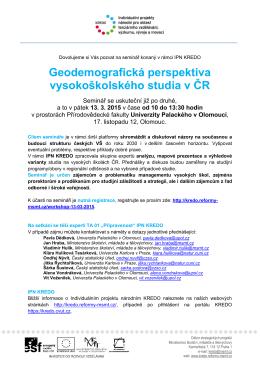 Geodemografická perspektiva vysokoškolského