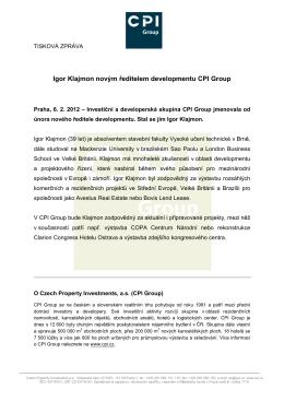 Igor Klajmon novým ředitelem developmentu CPI Group