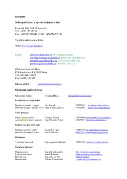 Kontakty Sídlo společnosti a výroba izolačních skel
