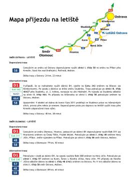 Mapa příjezdu na letiště