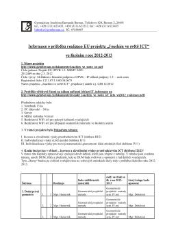 """Informace o průběhu realizace EU projektu """"Joachim ve světě ICT"""