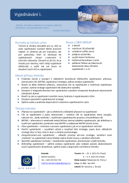 Vyjednávání I. - QED GROUP a.s.