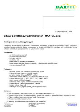 Síťový a systémový administrátor - MAXTEL s.r.o.