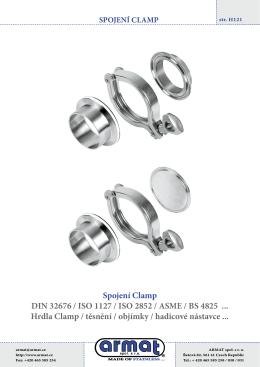 Nerezové spojení CLAMP DIN 32676, ISO, ASME