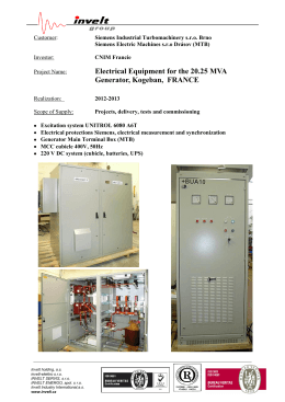 Electrical Equipment for the 20.25 MVA Generator, Kogeban, FRANCE