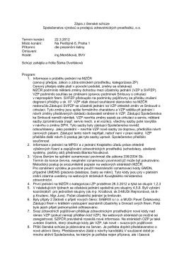 Zápis z Členské schůze SVPZP - Společenstvo výrobců a prodejců