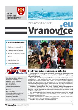 ZPRAVODAJ OBCE - Obec Vranovice