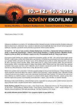 Tisková zpráva - Občanské sdružení EKOFILM