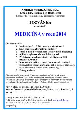 MEDICÍNA v roce 2014 - AMBIKO MEDIKA, spol. s ro