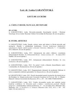 Lect. dr. Lenka GARANČOVSKÁ LISTĂ DE LUCRĂRI