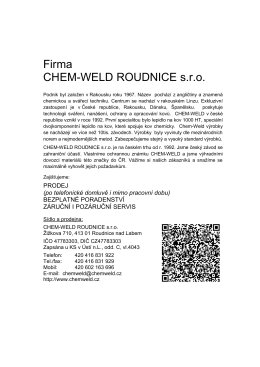 Firma CHEM-WELD ROUDNICE s.r.o.