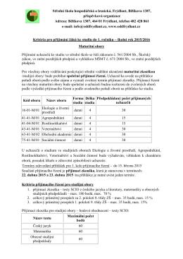 Přijímací řízení pro maturitní obory 2015
