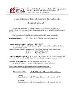 Organizační zajištění průběhu maturitních zkoušek