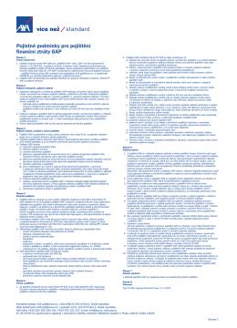 Pojistné podmínky pro pojištění finanční ztráty GAP