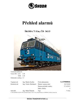 Řada 363.5 - přehled alarmů