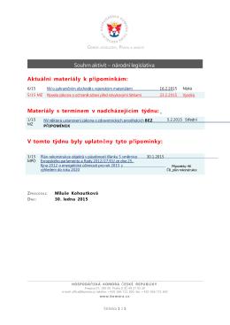 Souhrn aktivit – národní legislativa Aktuální materiály k p ipomínkám
