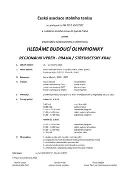 HLEDÁME BUDOUCÍ OLYMPIONIKY - Středočeský svaz stolního