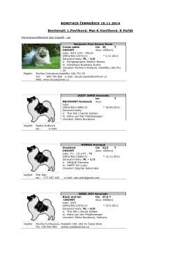Výsledky bonitace v Černošicích dne 15.11.2014