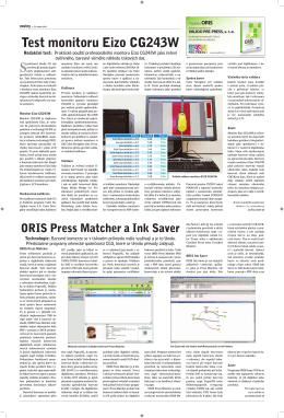 ORIS Press Matcher a Ink Saver Test monitoru Eizo CG243W