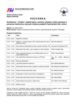 Program konference - Česká asociace sester