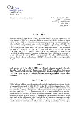 Kompletní rozhodnutí ČNB o schválení dluhopisů eFi Palace